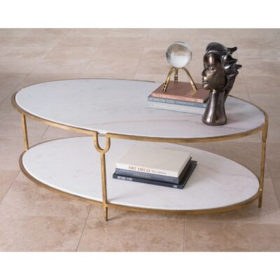Marble Library Cocktail Table with 2-Tiers