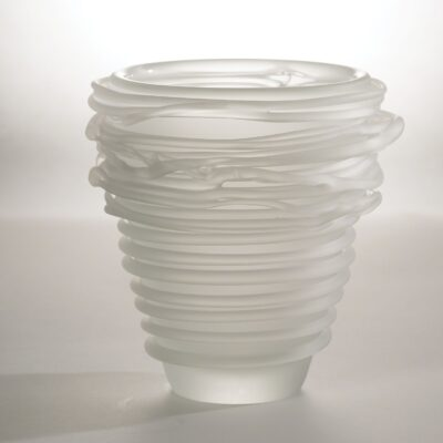 Frosted Glass Tornado Vase