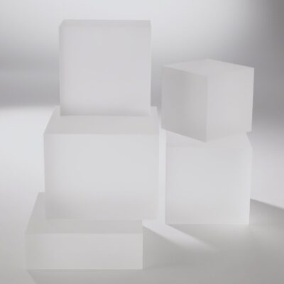Frosted Glass Cube Bookend Riser - Sm.