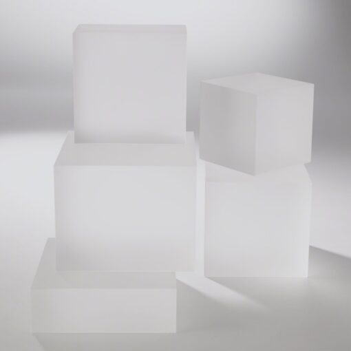 Frosted Glass Cube Bookend Riser - Lg.