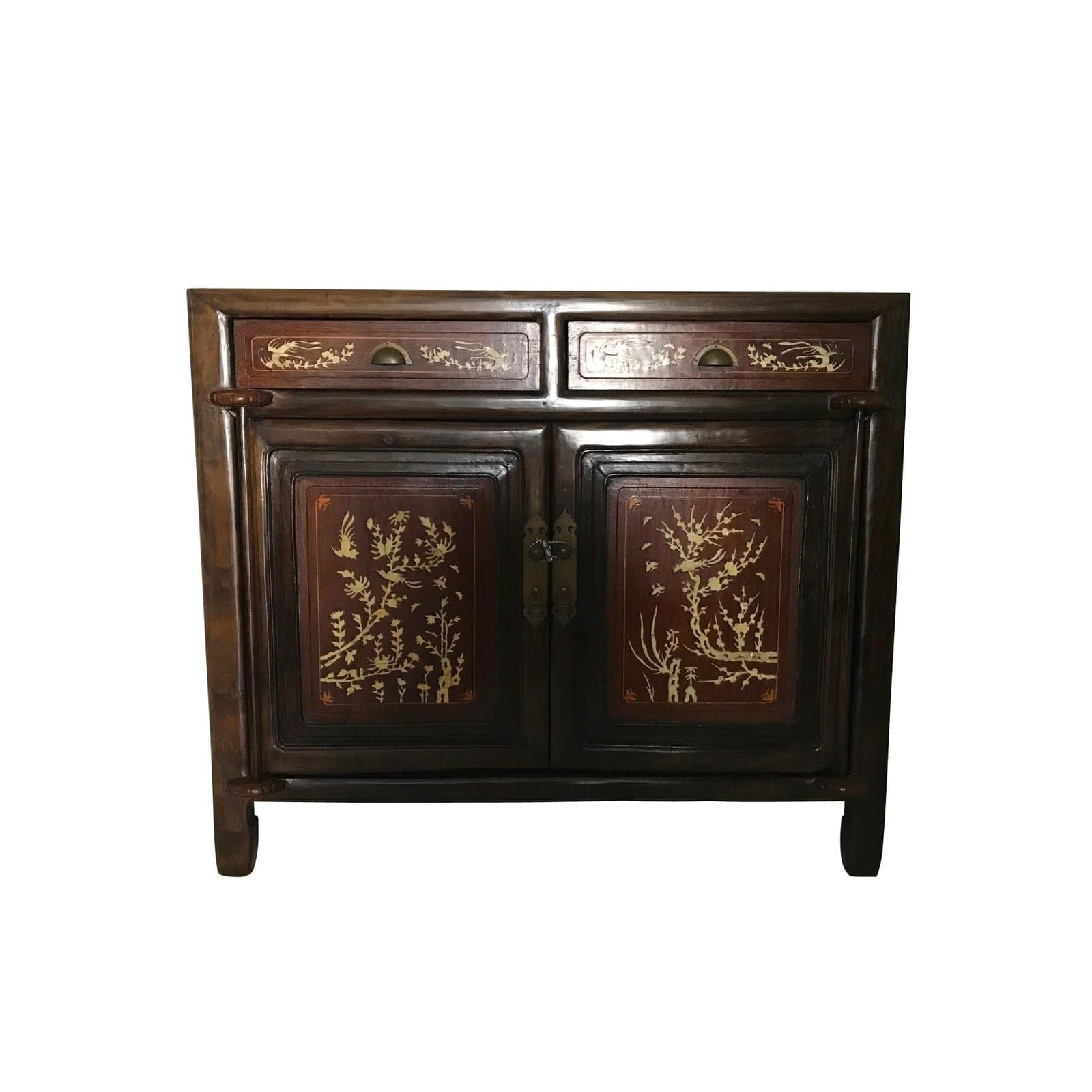 Inlayed Oriental Rosewood Cabinetdry Bar With Wine Rack 9165